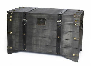 New Vintiquewise Distressed Black Large Wooden Storage Trunk Coffee Table