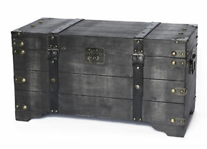 New Vintiquewise Distressed Black Medium Wooden Storage Trunk Qi003332