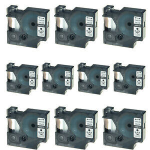 10pk 45010 Black On Clear Label Tape For Dymo D1 Labelmanager 160 200 12mm 1 2