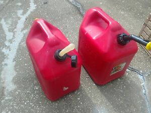 2 Blitz 5 Gallon Gas Cans Hard soft Flexible Spouts With Caps