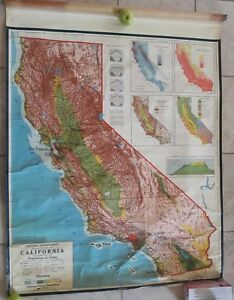 1960 Aj Nystrom C O Natural Enviroment Physical And Political Map Of California