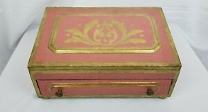 Vintage Italian Hand Painted Wooden Desk Top Box 13x8x6