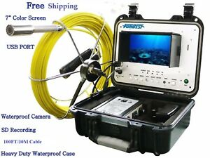 Sewer Drain Pipe Cleaning 1 Video Snake Camera 100 Ft Cable 7 Display Usb Sd
