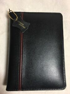 Vintage Planner organizer By Reflections Genuine Black Leather Euc 6 1 Rings