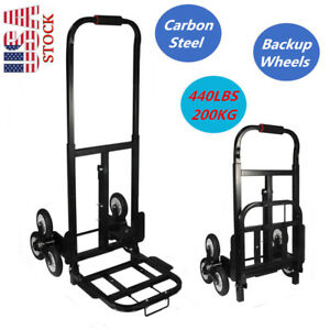 440lb Hd Folding Climbing Stair Cart Hand Truck Dolly Warehouse Moving Trolley