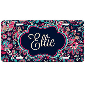 License Plate Personalized Purple Paisley Car Tag Monogrammed Vanity Plate 9358