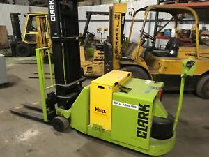 Clark Walk Behind Forklift Stacker 4000 130in Lift 42in Forks Charger 24volts