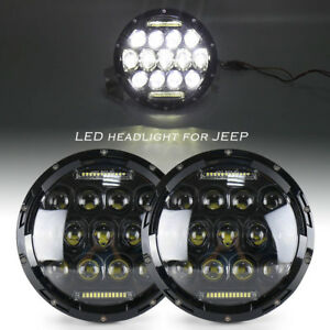 2pcs 7in Dual Beam Led Front Lamp Drl For Jeep Wrangler Jk Yj Tj Cj 1997 2017 16