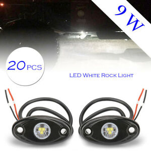 20x White Cree Led Rock Light For Truck Jeep Atv Suv Trail Rig Bar Lamp