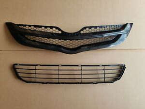 Fits 2007 2008 Toyota Yaris 4dr Sedan Front Bumper Upper Lower Grille Set 2pc