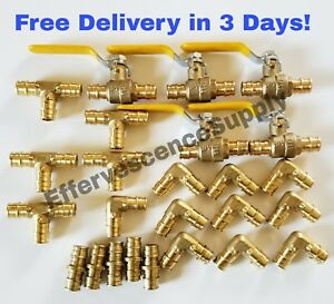 25 Units 3 4 Propex Brass Fittings Uponor Style Elbow tee Coupler Valve