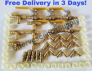 75 Units 3 4 Propex Brass Fittings Elbow Tee Coupler Valves Rings