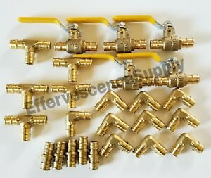 25 Units 1 Propex Brass Fittings Uponor Style Elbow tee Coupler Valve