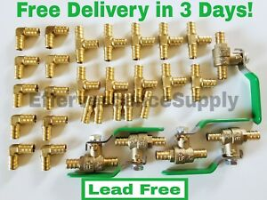 30 Pcs 1 2 Brass Pex Fittings Elbow coupler Tee Lead Free Brass