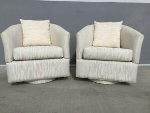 Pair Of 70 S Milo Baughman Style Tub Lounge Chairs W Fat Bases
