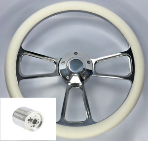 14 Polished Billet Steering Wheel White Wrap Horn Button Adapter E07