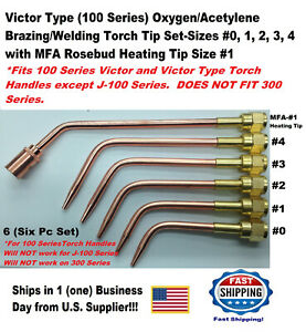 Victor Type 100 Series Oxygen acetylene Brazing Welding Torch Tip Set 6 Pc
