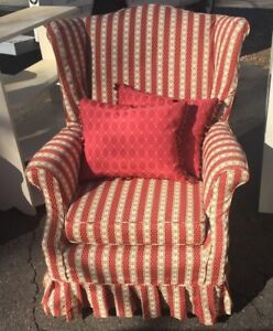 Vintage Upholstered Wing Back Arm Chair Red White Stripe Pillows Not Included