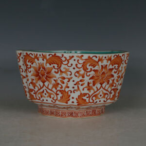 Chinese Old Marked Iron Red Colored Gilt Twined Branches Pattern Porcelain Bowl