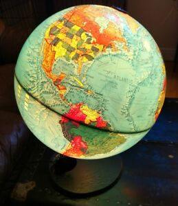 Vintage World Scan Globe A S Edition 1985 Gb Lucite Illuminated Vgc