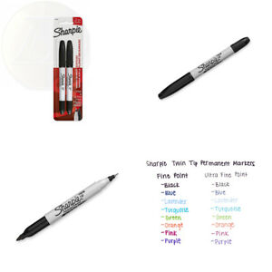 Sharpie 32162pp Twin Tip Permanent Markers Fine And Ultra Fine Black 2 Count