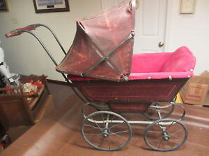 Vintage Antique 1800s Old Baby Doll Wood Stroller Carriage 32 Long Wonderful