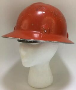 Vintage Jackson Quality Products Aluminum Hard Hat Full Brim Adjustable Orange