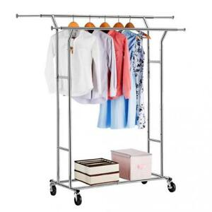 Langria Double Rail Garment Racks Clothes Commercial Grade Height Adjustable