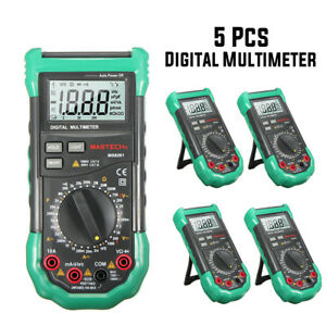5 Pcs Mastech Lcd Backlight Display Digital Multimeters Ac dc Volt Amp Hfe Test