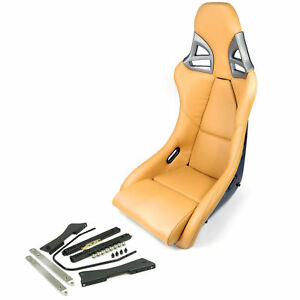 Carbon Fiber Sports Bucket Seats In Leather Beige With Porsche Adapter Rail