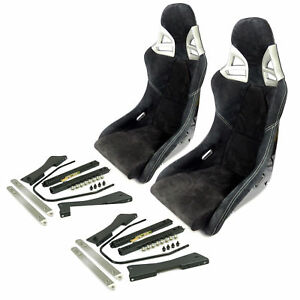 2x Carbon Alcantara Black White Stitching Sport Seats With Adapter For Porsche