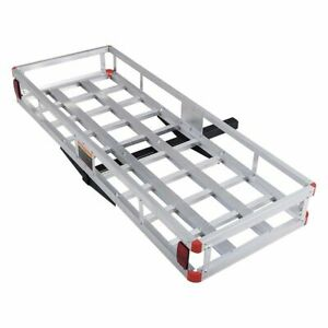 60 X 22 Aluminum Hitch Mount Cargo Carrier Luggage Basket Rack For Suv Truck