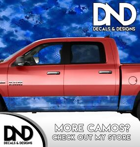 Camo Chameleon Bright Blue Rocker Panel Wrap Decal Kit Truck Camouflage Da53rp