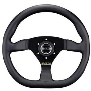 Sparco L360 Steering Wheel 330mm Black Leather Flat Dish W Flat Bottom New