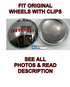 Pair Stainless Hubcaps For 1947 53 Chevrolet 1 2t Truck