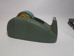 Vintage Cast Iron Scotch Tape Dispenser Art deco Green Whale Cellophane