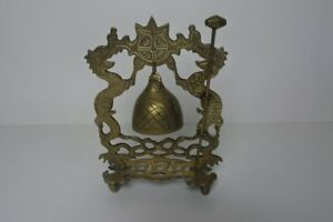 Antique Engraved Brass Chinese Dragon Dinner Bell Gong Circa 1900 1920