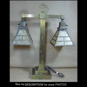 Large 23 1 2 H Antique Arts Crafts Brass Slag Glass Shades Table Lamp