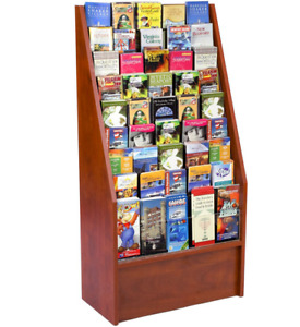 24 Red Mahogany 9 Tier Literature Stand For Floor W 45 Adjustable Wire Pockets