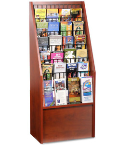 20 Red Mahogany 6 Tier Literature Stand For Floor W Adjustable Wire Pockets