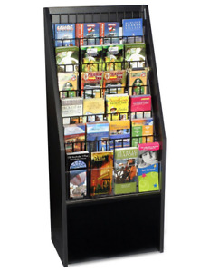 20 Black 6 Tier Literature Stand For Floor W 12 Or 24 Adjustable Wire Pockets