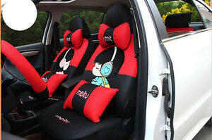 20pcs set Women Cute Cartoon Universal Car Seat Cover Front Rear Cover Accessory