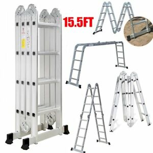 15 5ft Aluminium Telescopic Ladder Extension Foldable Multi purpose Steps En131