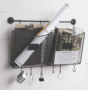 Wire Hanging Rack Rustic Incoming Mail Organizer Wall Mount Farm File Decor New