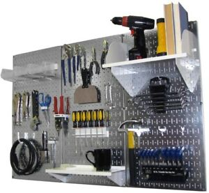 Home Shop Steel Wall Metal Pegboard Standard Tool Storage Kit With Accessory New