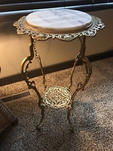 Antique Victorian Two Tier Filigree Brass Marble Plant Stand Table