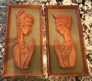 Mcm Pair Of Witco Mid Century Wood Carving Wall Hangings Man Woman Praying 47