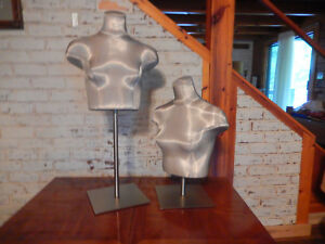 Retail Display Adjustable Mannequin Bust pair