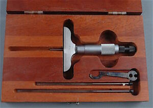Starrett Micrometer Depth Gage No 449 In Case Mc401