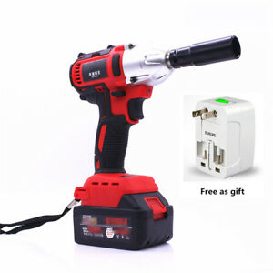 Rechargeable 68v Brushless Electric Impact Wrench Socket 7 8ah W Plug Adapter